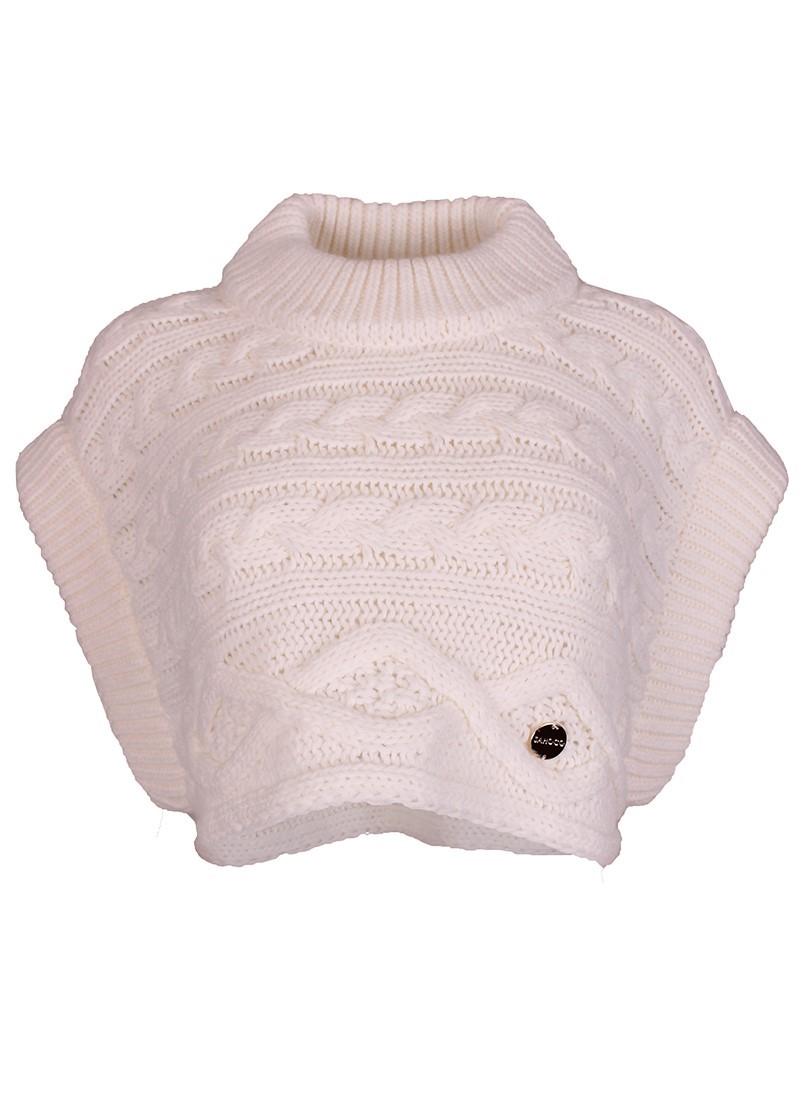 Colete curto feminino de trico branco Sahoco