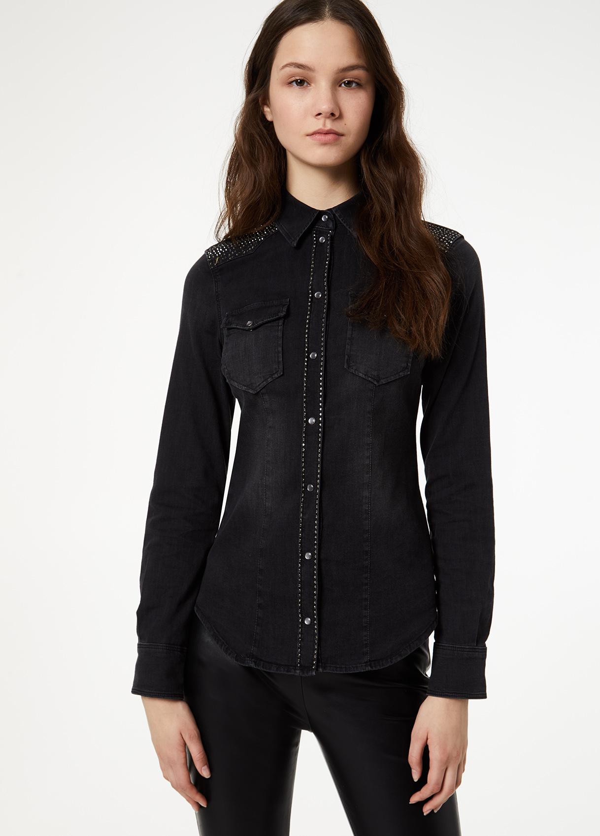 Camisa de ganga preta feminina Liu Jo