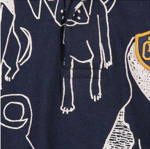 Polo manga comprida estampa de cães Catimini