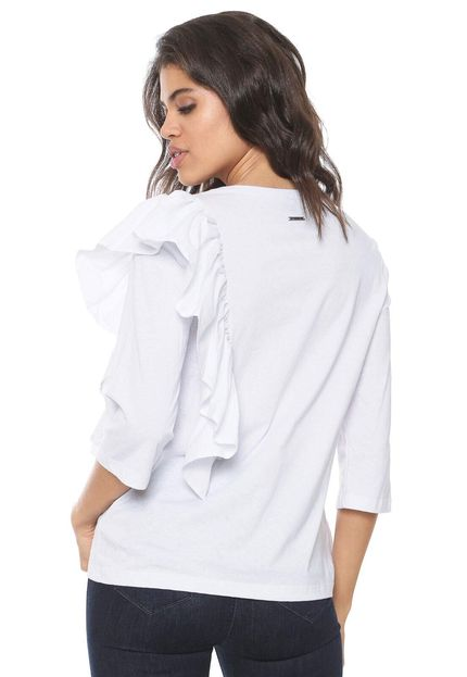 Blusa feminina branca com folho Colcci