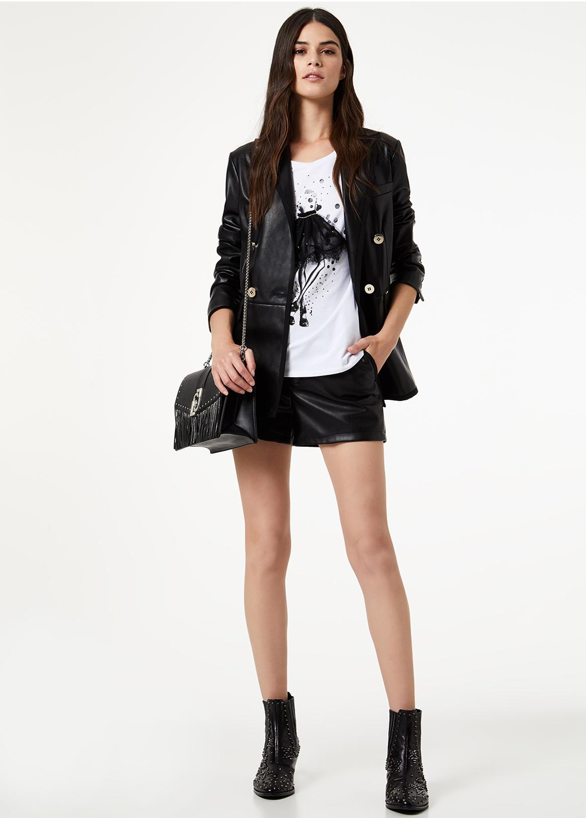 T-shirt feminina de algodão estampado frontal Liu Jo