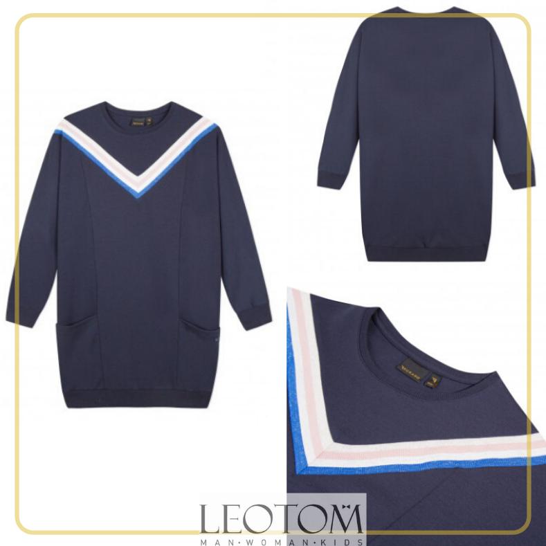 Vestido desportivo azul marinho com listras adolescente Beckaro