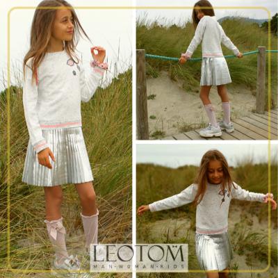 Vestido branco e cinza plissado infantil 3pommes