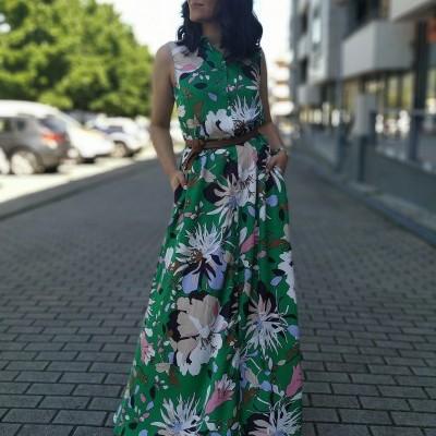 Vestido feminino verde longo padrão floral Liu Jo