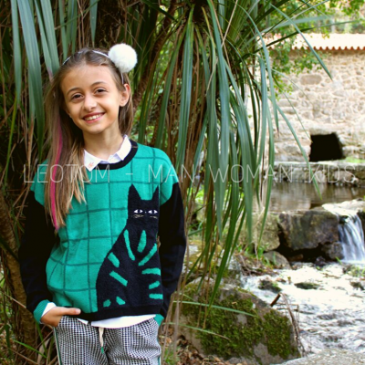 Camisola infantil estampa gato verde/preta Catimini