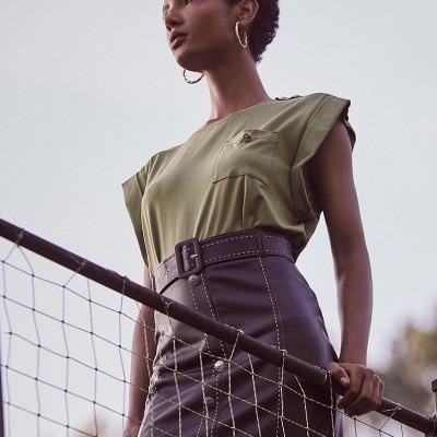 T-shirt verde Kaki feminina Sahoco