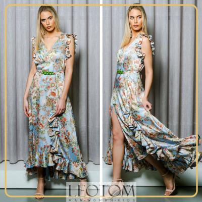 Vestido longo estampado floral Roberta Biagi