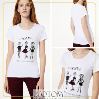 T-shirt feminina de algodão branca Liu Jo