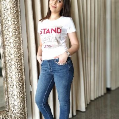 Calças Jeans femininas com pedras nos bolsos Liu Jo