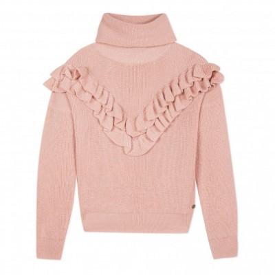 Camisola de malha gola alta rosa adolescente Beckaro