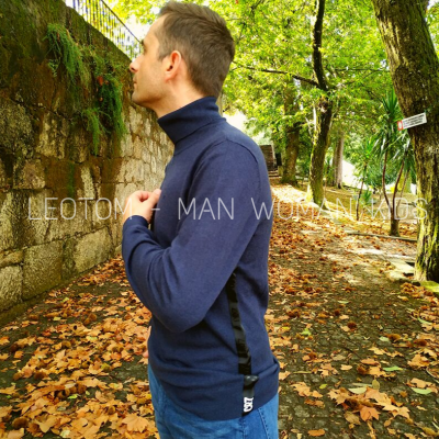 Camisola de gola alta masculina azul marinho CR7