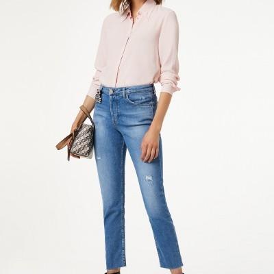Jeans cropped femininos bainha desfiada Liu Jo