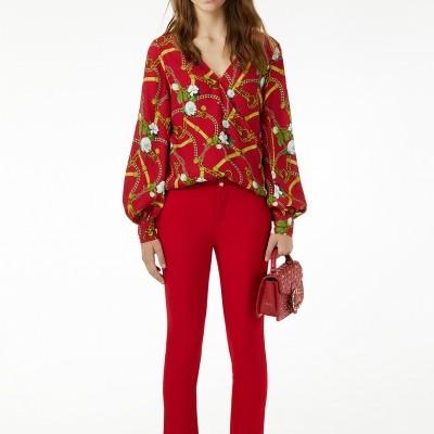 Calça clássica vermelha feminina Liu Jo