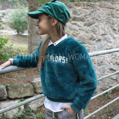 Sweat verde infantil de pelo artificial Catimini