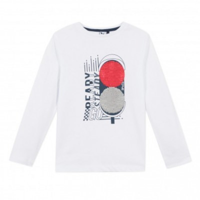 Camisola infantil de algodão semáforos de lantejoulas 3pommes