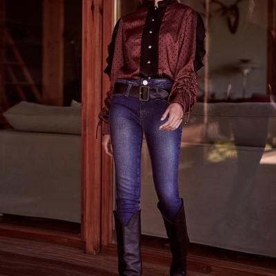 Calça de ganga feminina com cinto preto Sahoco
