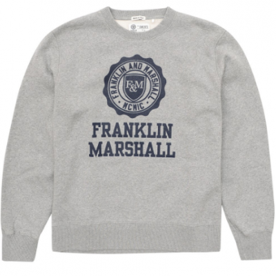 Sweat cinza com logótipo azul marinho Franklin & Marshall