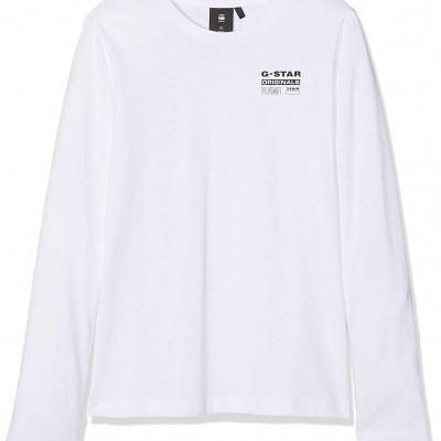 Camisola branca de algodão adolescente G-Star Raw