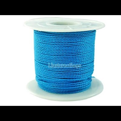Fio de Algodão Encerado Torcido  Azul 1mm