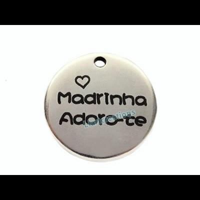 Medalha Zamak 25mm Madrinha Adoro-te