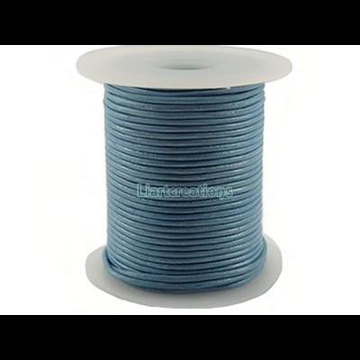 Fio de Cabedal 1mm Azul Metalizado