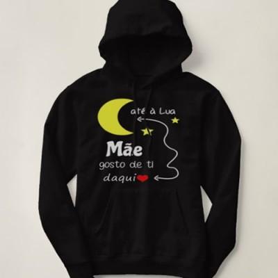 Sweatshirt Grossa c/ Capuz - Mãe gosto de ti daqui até à Lua
