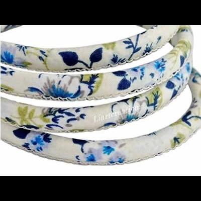 Fio Tecido Flores Azul  6mm