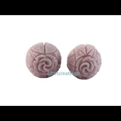 Conta c/ Flor Resina 13mm Lilás