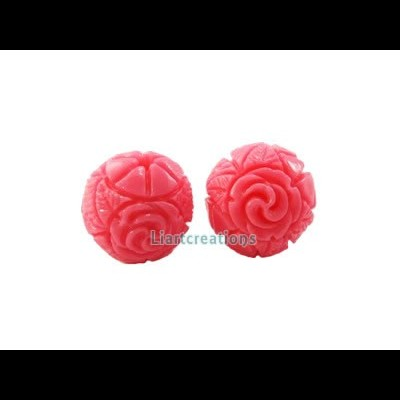 Conta c/ Flor Resina 13mm Rosa