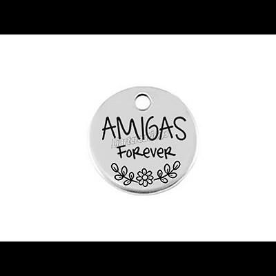 Medalha Aço 18mm Amigas Forever