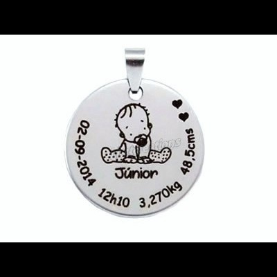 Medalha Aço Dados de Nascimento Bebé