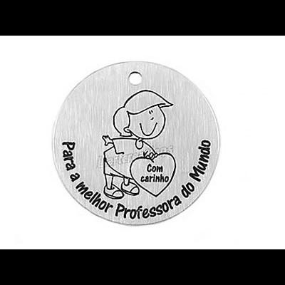 """Medalha Alumínio Menino + """"Com carinho, Para a Melhor Professora do Mundo"""""""