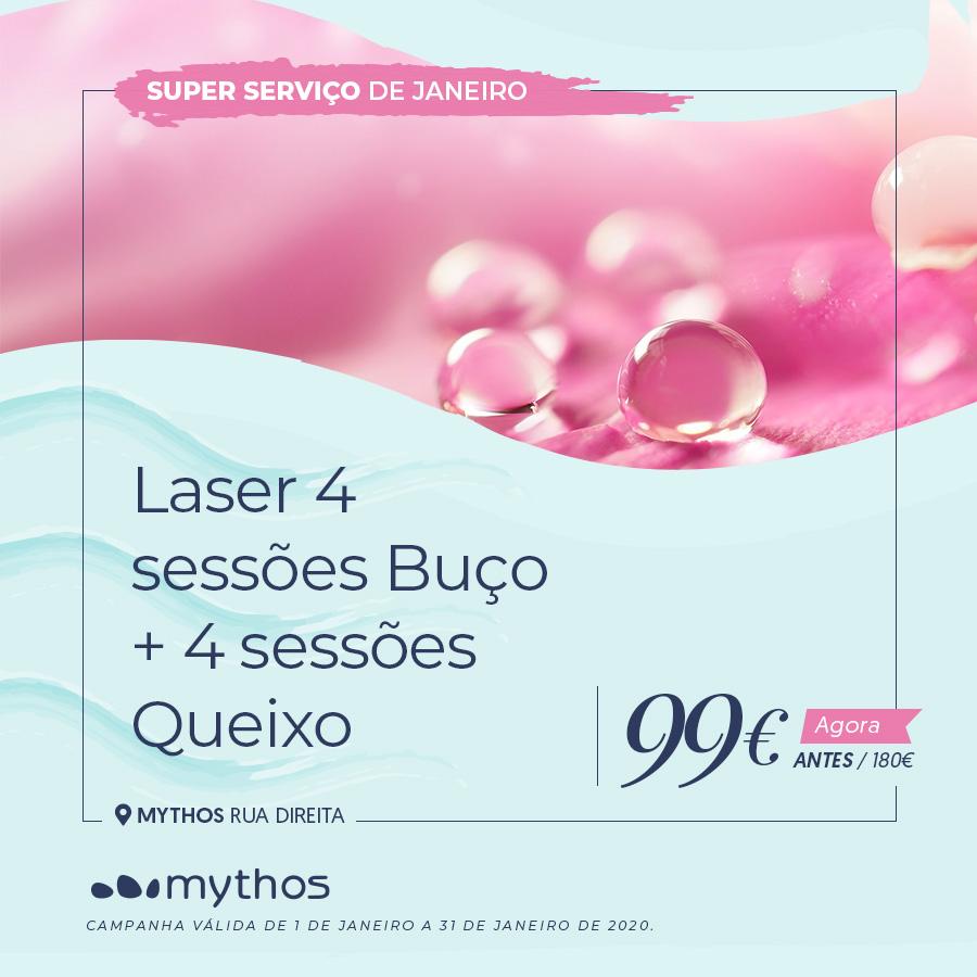 4 sessões de Laser Buço e 4 sessões Queixo