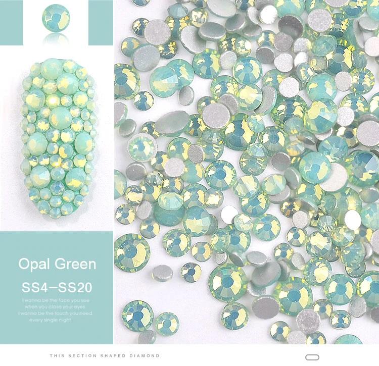 Cristais Verde Opal - Mix tamanhos