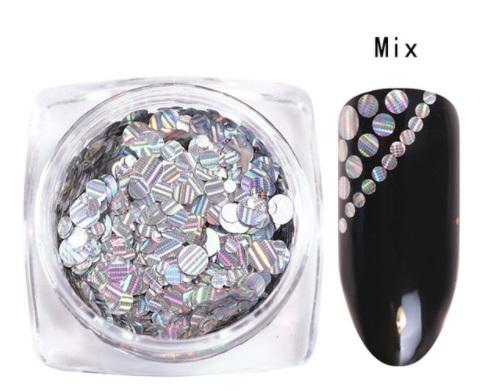 Círculos Prata Holográfico Riscas - Mix Tamanhos