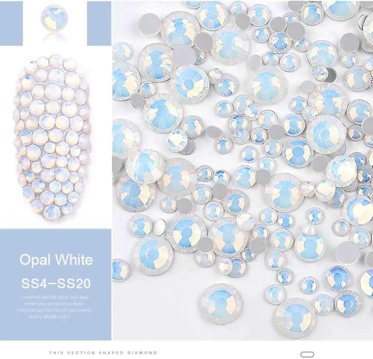 Cristais Branco Opal - Mix tamanhos