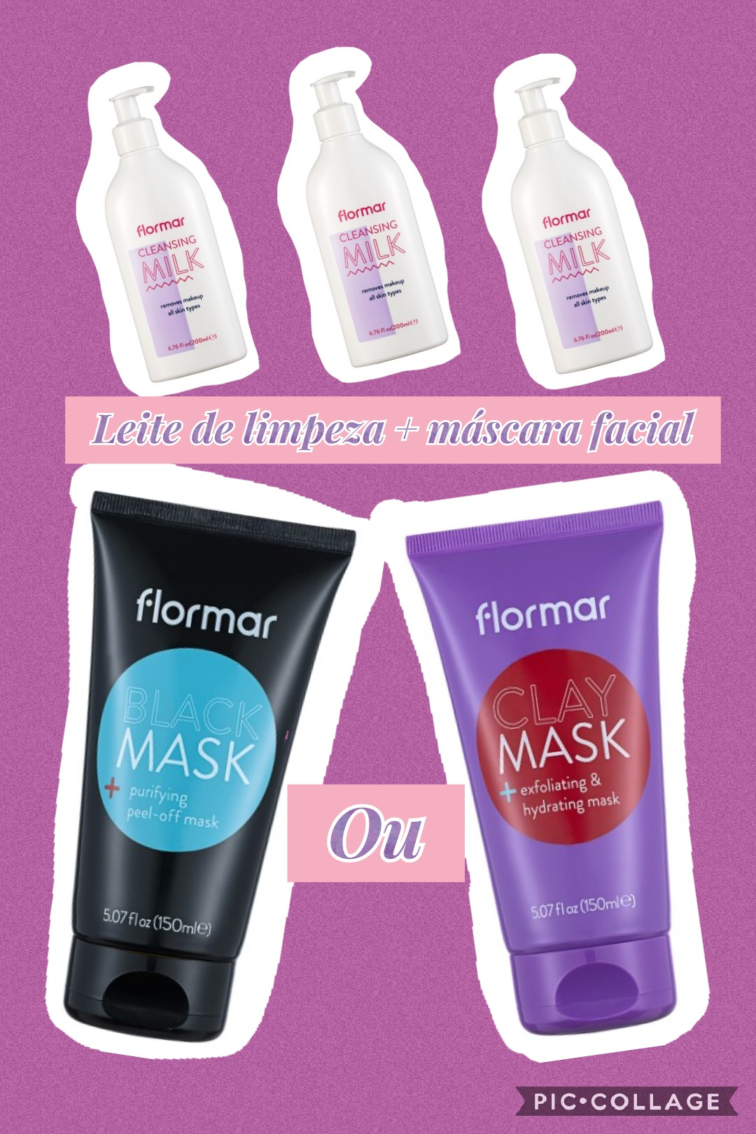 Conjunto limpeza de pele FLORMAR - CLEANSING MILK + MÁSCARA