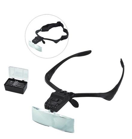 Óculos com lupa e luz LED