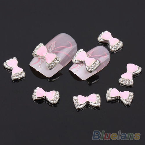 Laço 3D rosa e cristal
