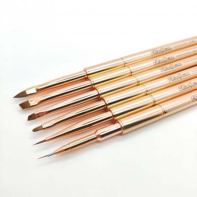 "Kit 6 Pinceis ""Kika Gomes"" Nail Art Pro"