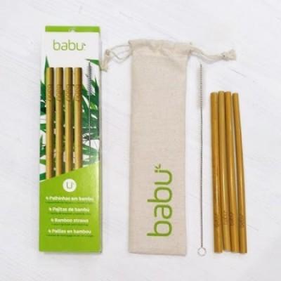 Palhinha Bambú Set 4 + Escova Limpeza em Sisal + Bolsa