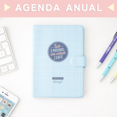 Agenda Clássica Pequena 2019 (vista semanal) - Tudo é possível com vontade e um café