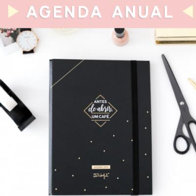 Agenda preta com argolas 2019 (vista semanal) - antes de abrir um café