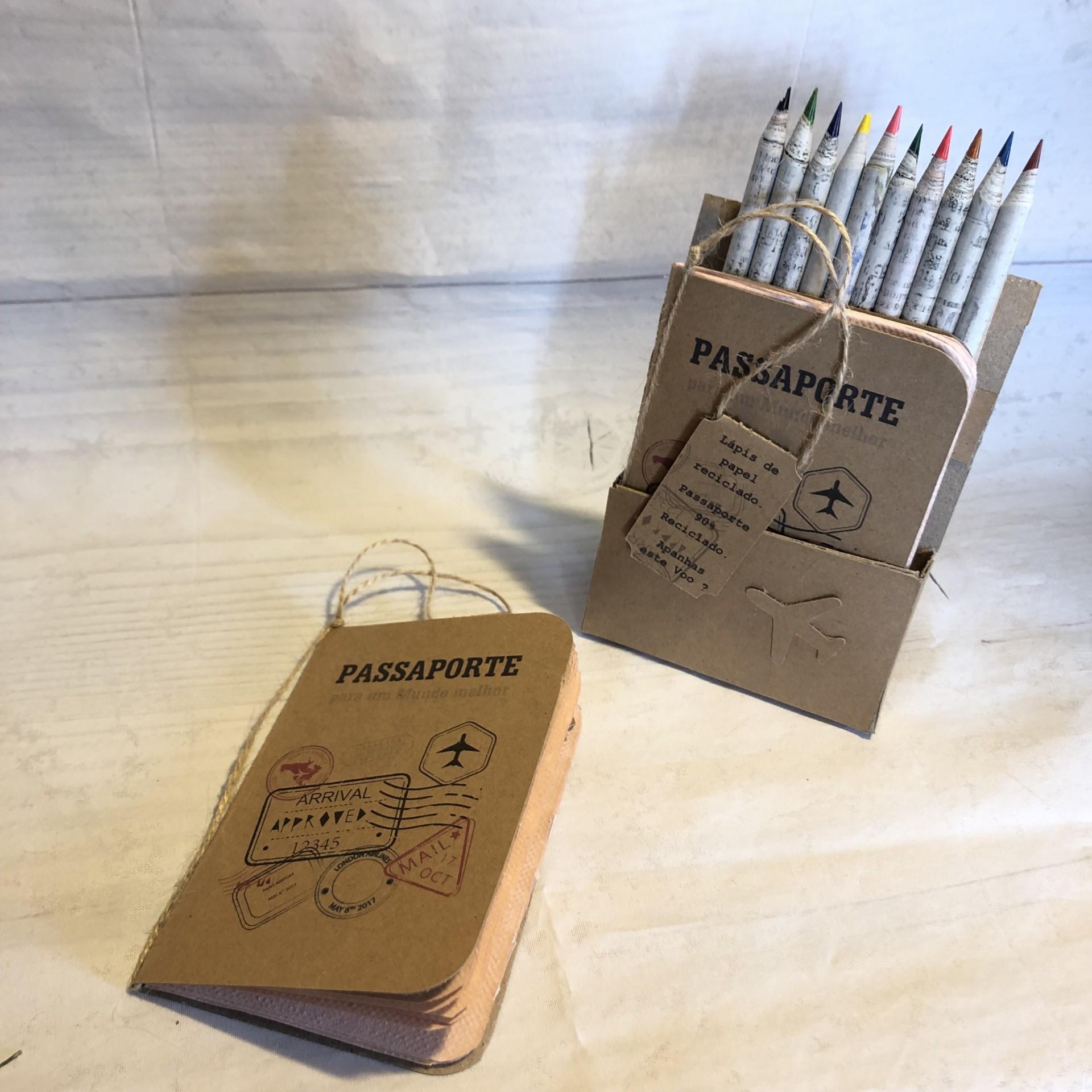 Conjunto lápis de com mas bloco reciclado