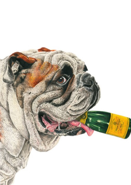 "Serigrafia ""Clifford The Big Drunk Bulldog"" de Adam Batchelor"