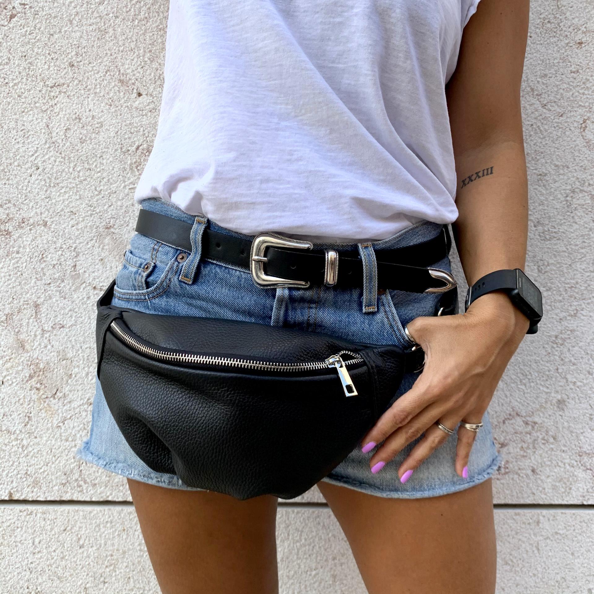 Bolsa de Cintura em Pele | Preto
