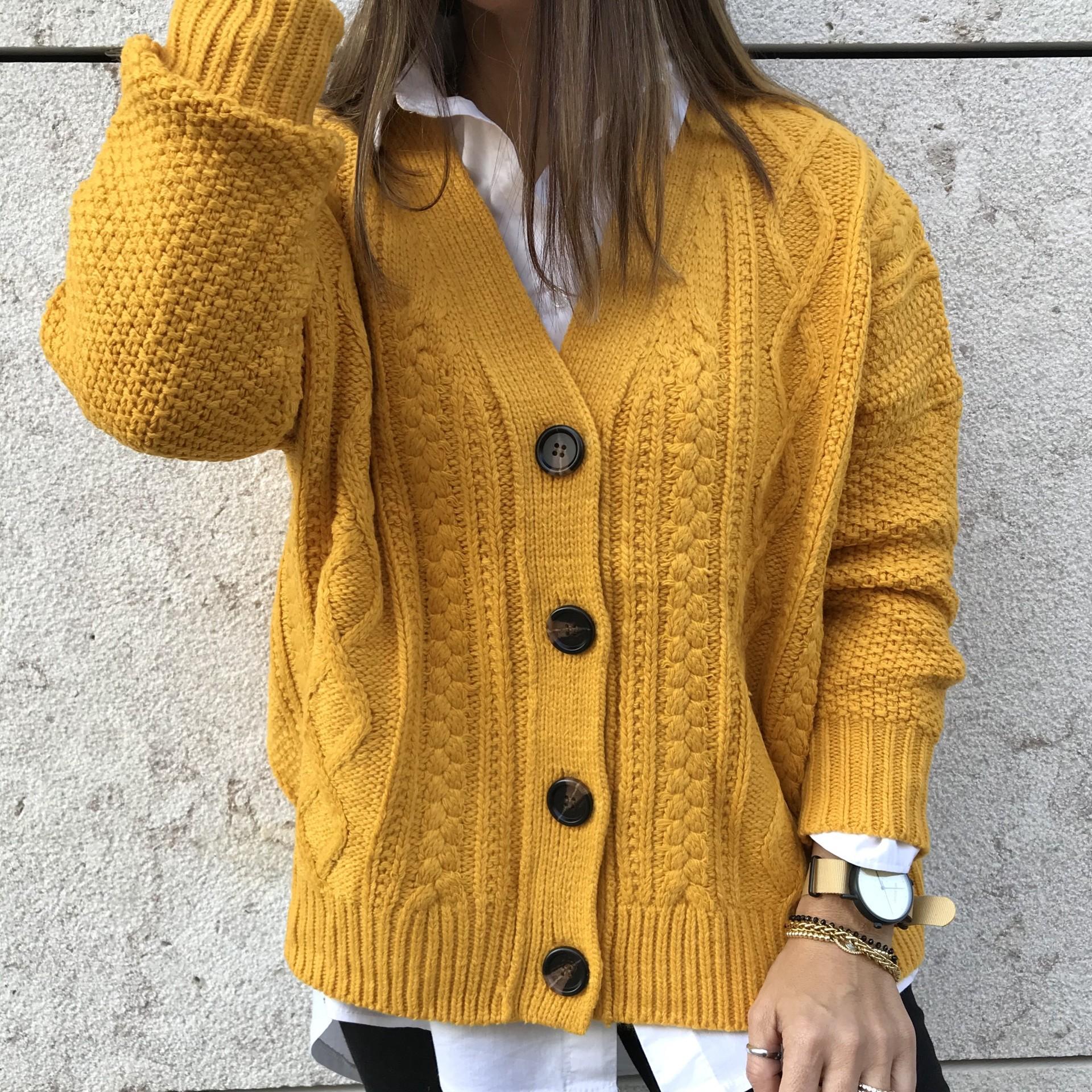 Casaco Entrançado Com Botões | Amarelo