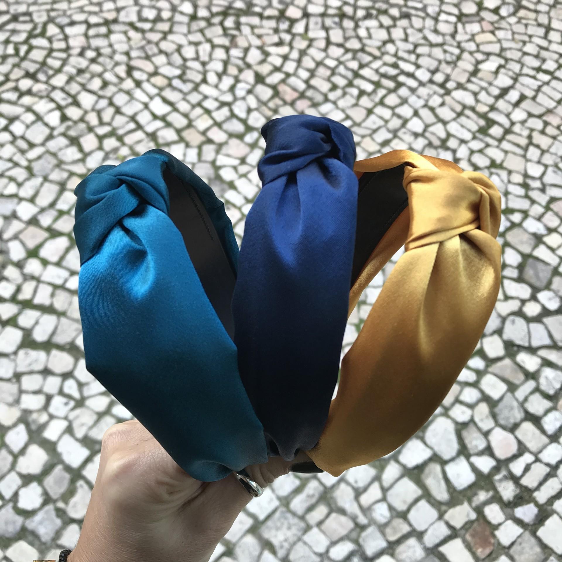Bandolete de Cetim | Turquesa, Azulão & Mostarda