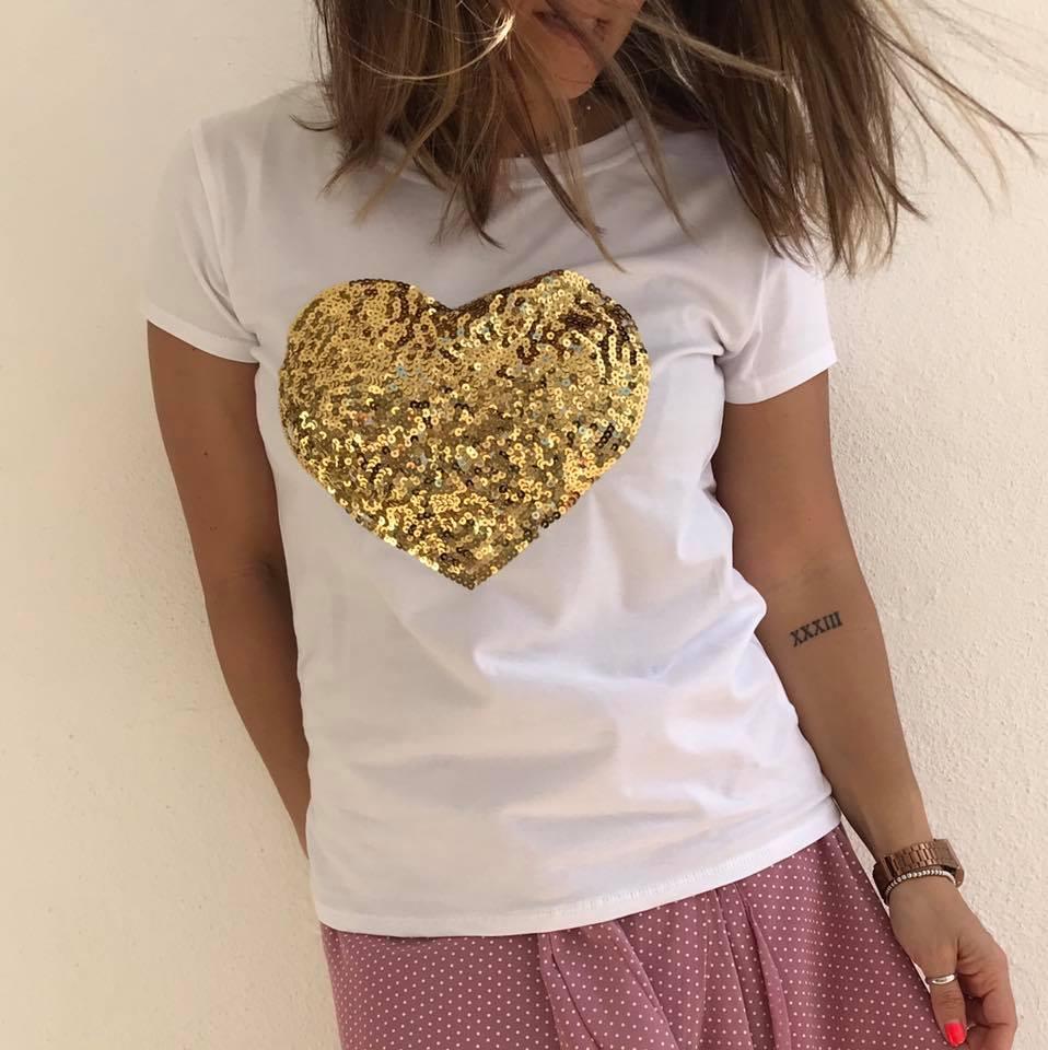 T-Shirt Coração Lantejoulas | Dourado
