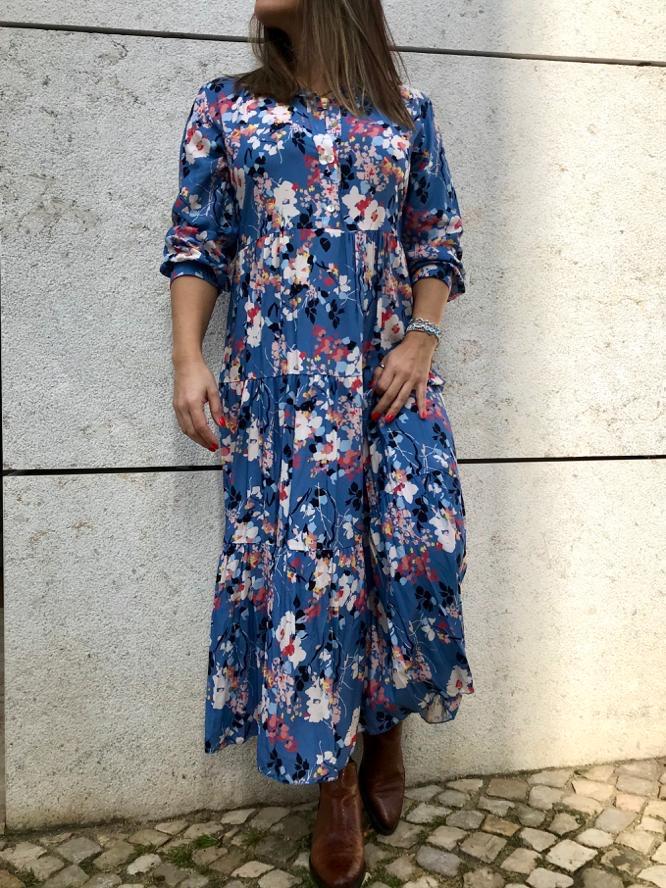 Vestido Floral | Azul